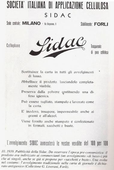 Prima pubblicità Sidac - 1939
